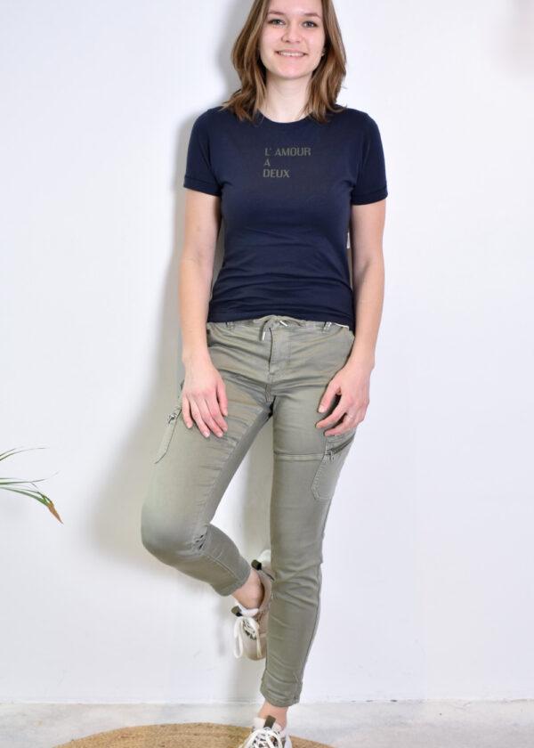 Penn & Ink N.Y. T-shirt S21T556 Navy Khaki outfit