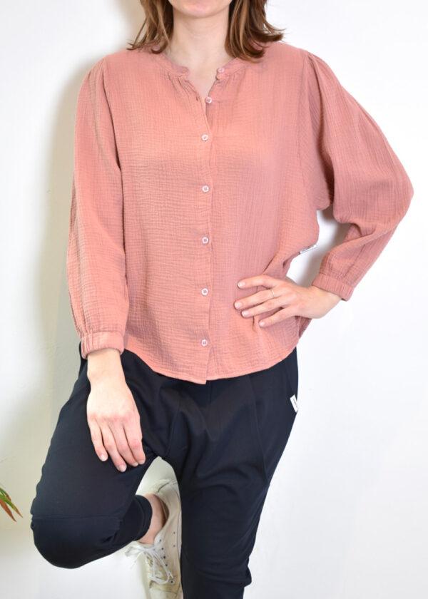 Penn & Ink N.Y. blouse S21T531 terracotta front 2