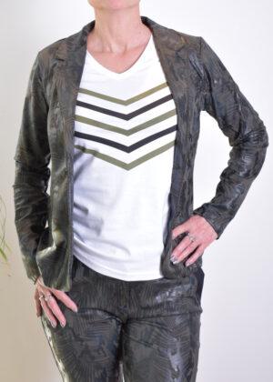 HBT Shirley blazer Kaki palm B1251C front