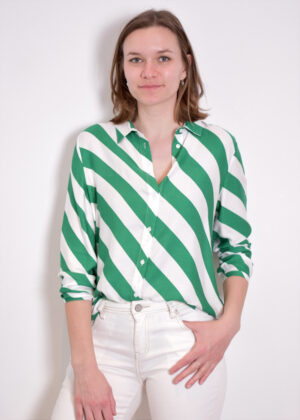 Milano Italy green print 11-6698-3054-1-a Blouse with collar front