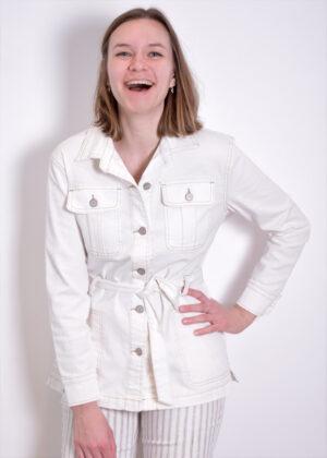 Red Button Robie jacket ecru denim 2840 front closeup