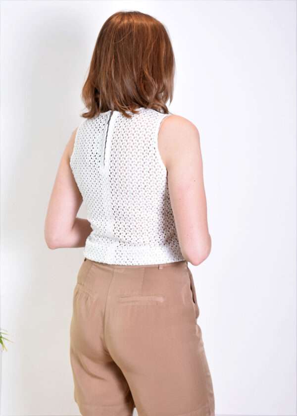 I-coni-K ICON21S1-SB010-01 Britney White Knitted Top Optical BACK