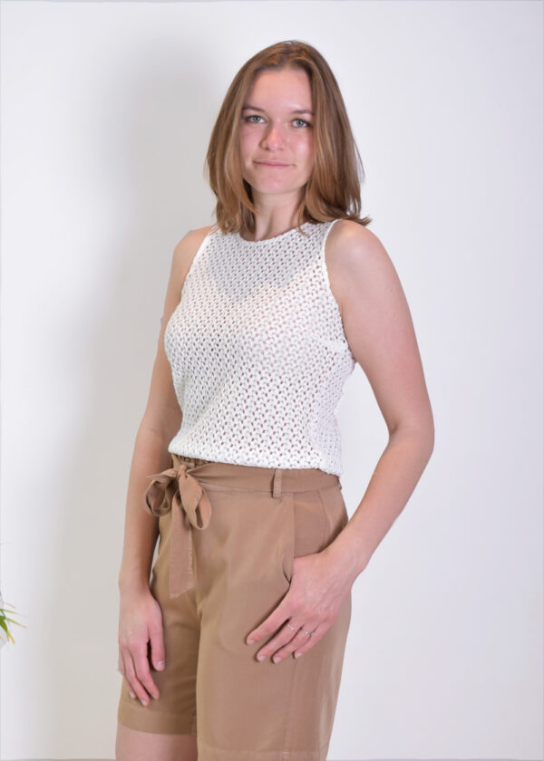 I-coni-K ICON21S1-SB010-01 Britney White Knitted Top Optical White SIDE