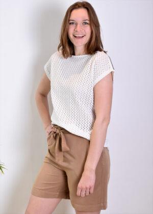 I-coni-K ICON21S1-SB010-02 Bridget White Knitted Shirt Optical White side