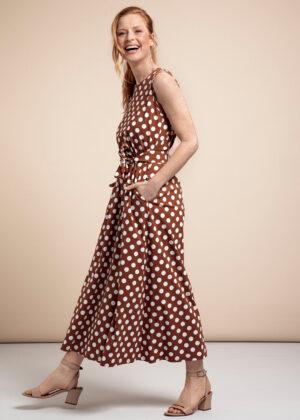 Studio Anneloes 05746-2311 Sigrid big dot dress Cinnamon Off-White side