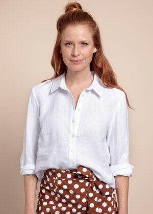 Studio Anneloes 05791-1000 Jet linen blouse white front model