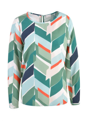 Milano Italy Blouse with roundneck 13-6781-3044-4 jade print
