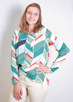 Milano Italy Blouse with roundneck 13-6781-3044-4 jade print front