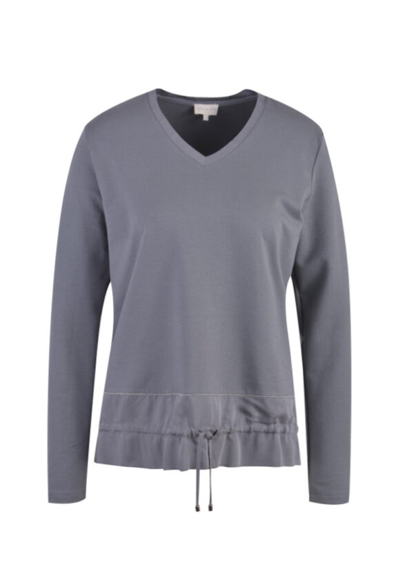 Milano Italy Shirt with V-neck and woven hem part 13-4339-8463-7 graphit