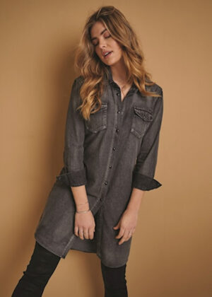Red Button Dolly shirtdress black denim 2924 model front