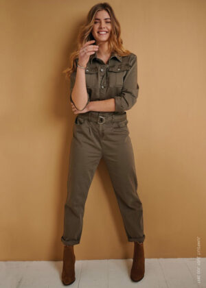 Red Button Jumpsuit Judy jog 2897 front model