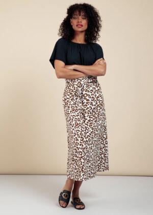 Studio Anneloes 06017-1187 Sadie leopard skirt off white caramel model front 2