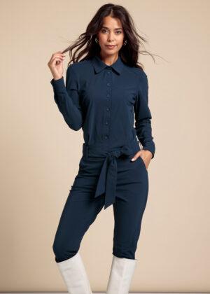 Studio Anneloes 06277-6700 Angelique LS jumpsuit indigo front 2