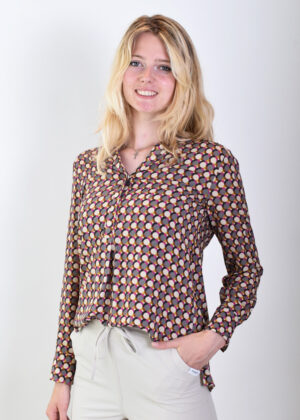 Milano Italy Blouse 13-6764-3296-3 sand print side