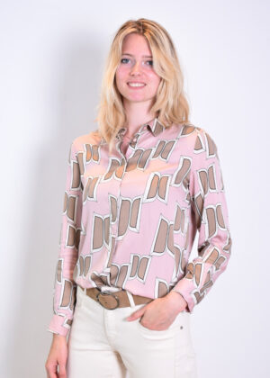 Milano Italy Blouse with collar and covered button placket 13-6765-3501-1 sand print side
