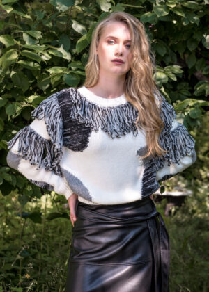 I-coni-K Astrid Fancy knit p108-01 black model front