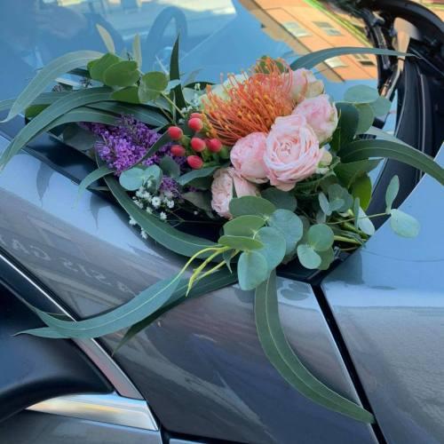 Aankleding auto | Oranje & roos