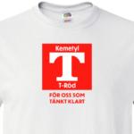 Bröstbild på t-sprit tröjan som finns i svart och vitt, en rolig men ändå seriös tshirt