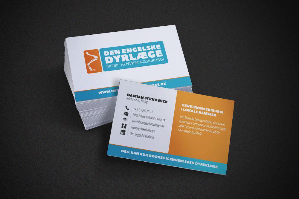 Visitkort design til Den Engelske Dyrlæge