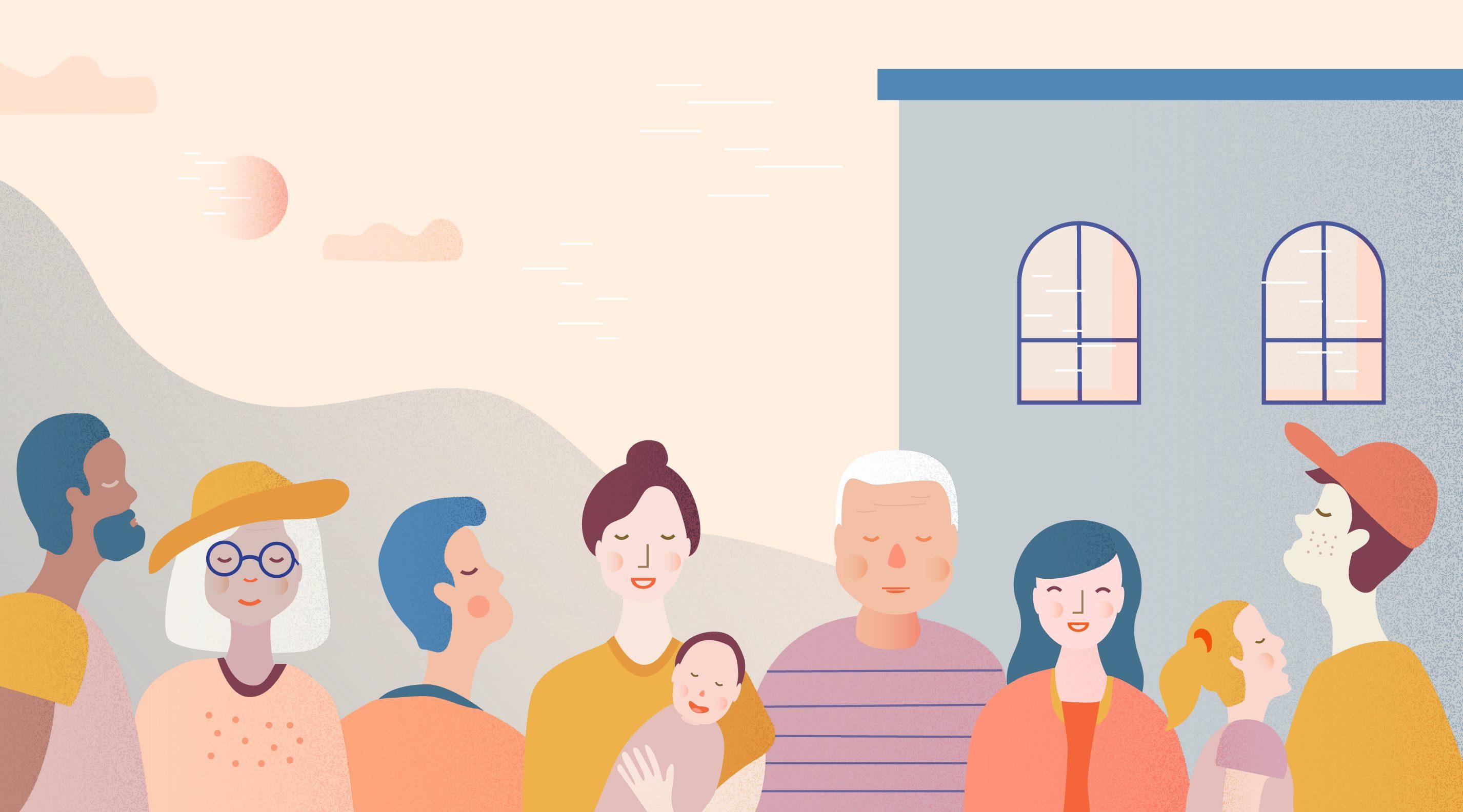 Ansikter mennesker by park illustrasjon digital tegnet baby