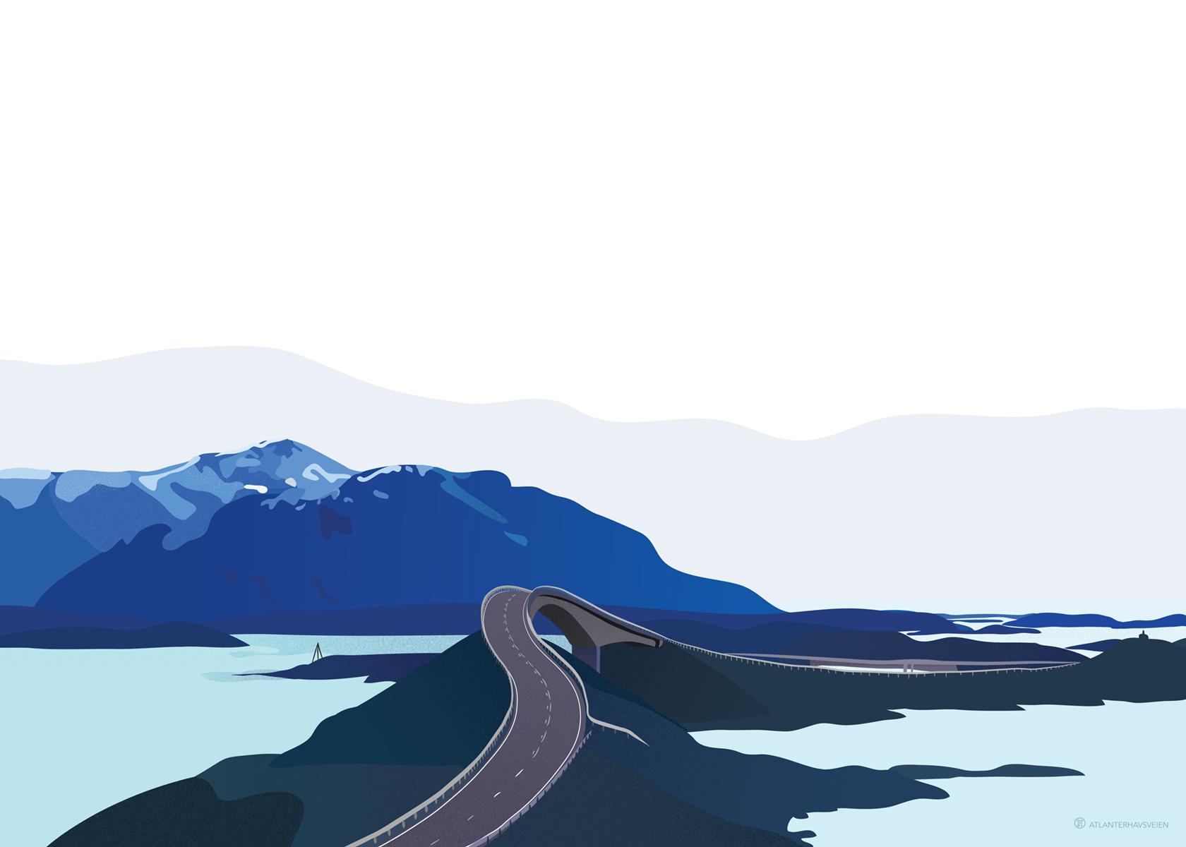 Atlanterhavsveien illustrasjon hav sjø natur