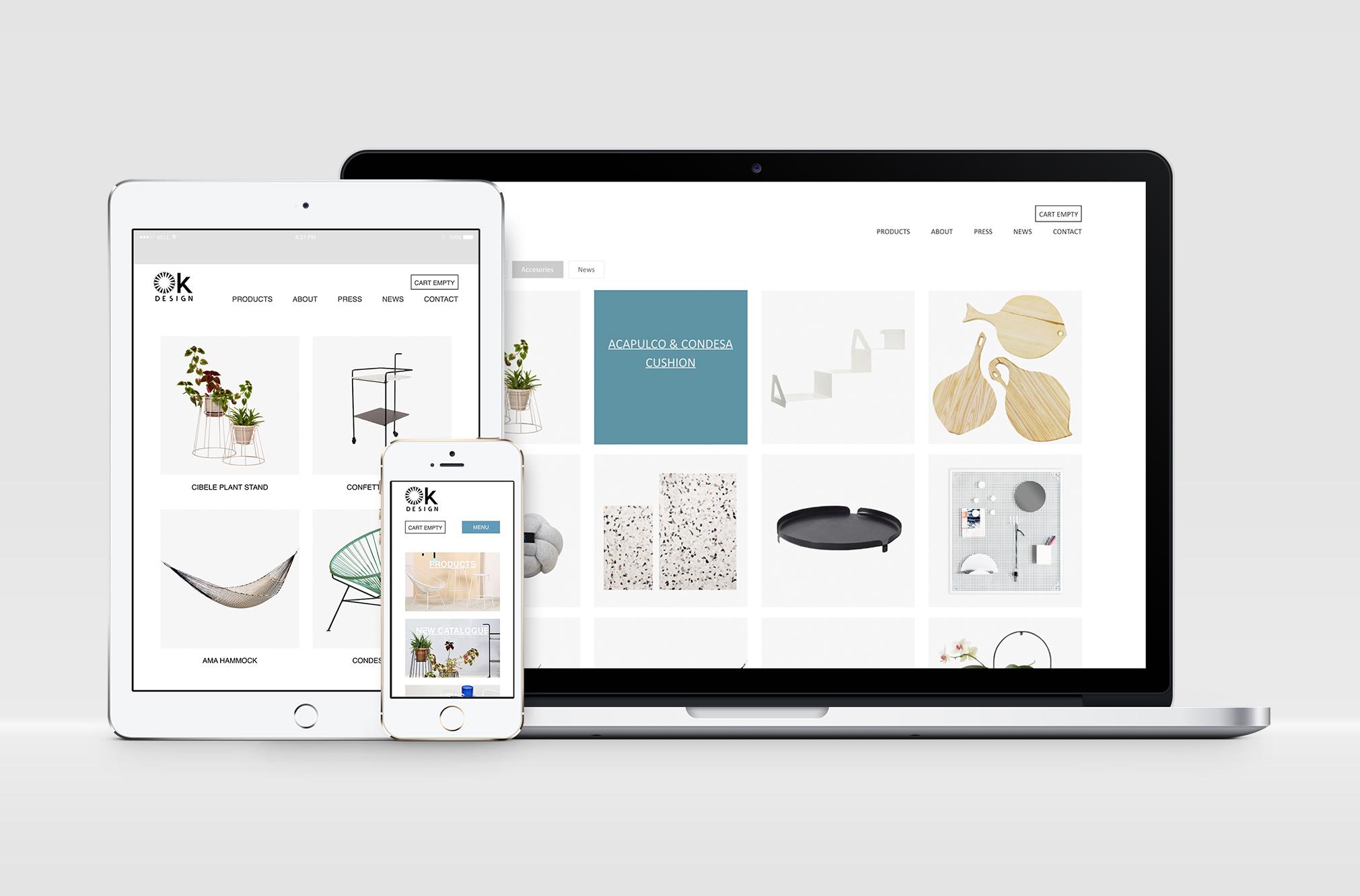 Ok design nettside 2015 - layout - møbler - produkter - wordpress - nettbutikk