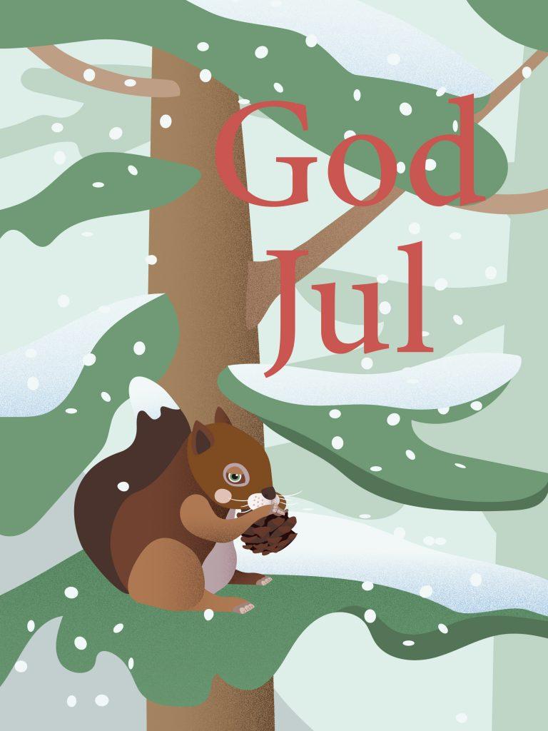 Julekort illustrasjon ekorn snø tre
