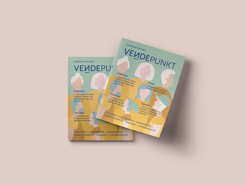 Vendepunkt magasin layout illustrasjon forside cover helse kreft livsstil identitet logo mennesker