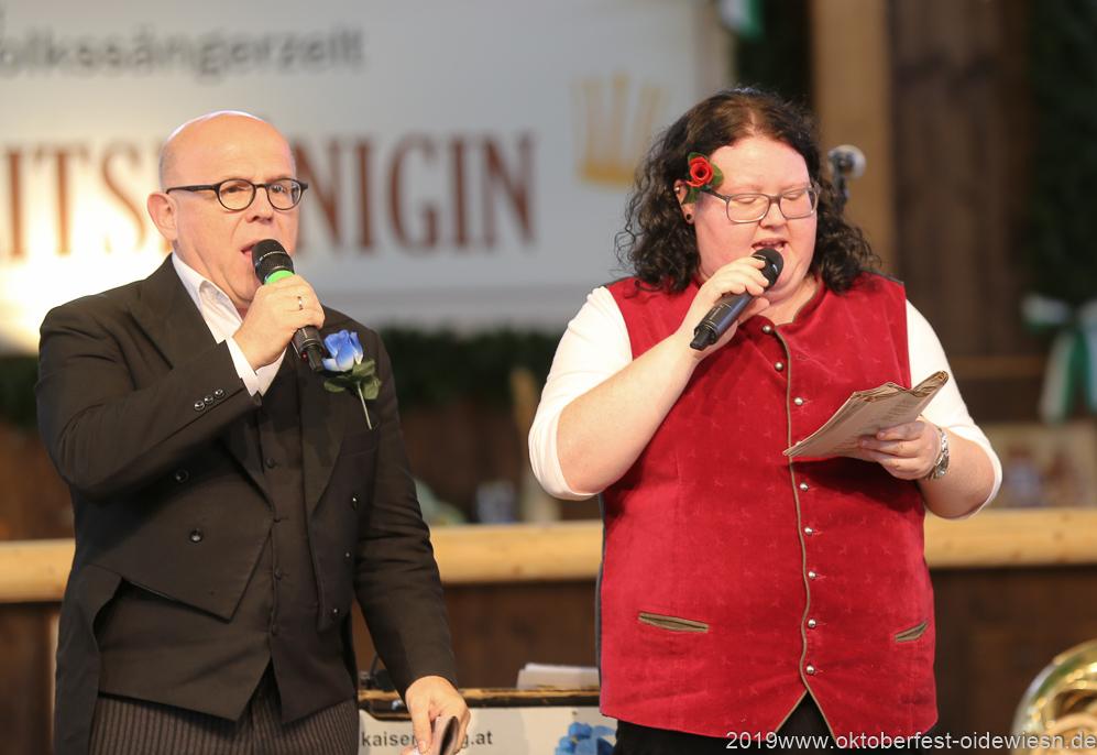 Jürgen Kirner und Barbara Preis, Tag  10 im Volkssängerzelt zur Schönheitskönigin auf der Oidn Wiesn in München 2019