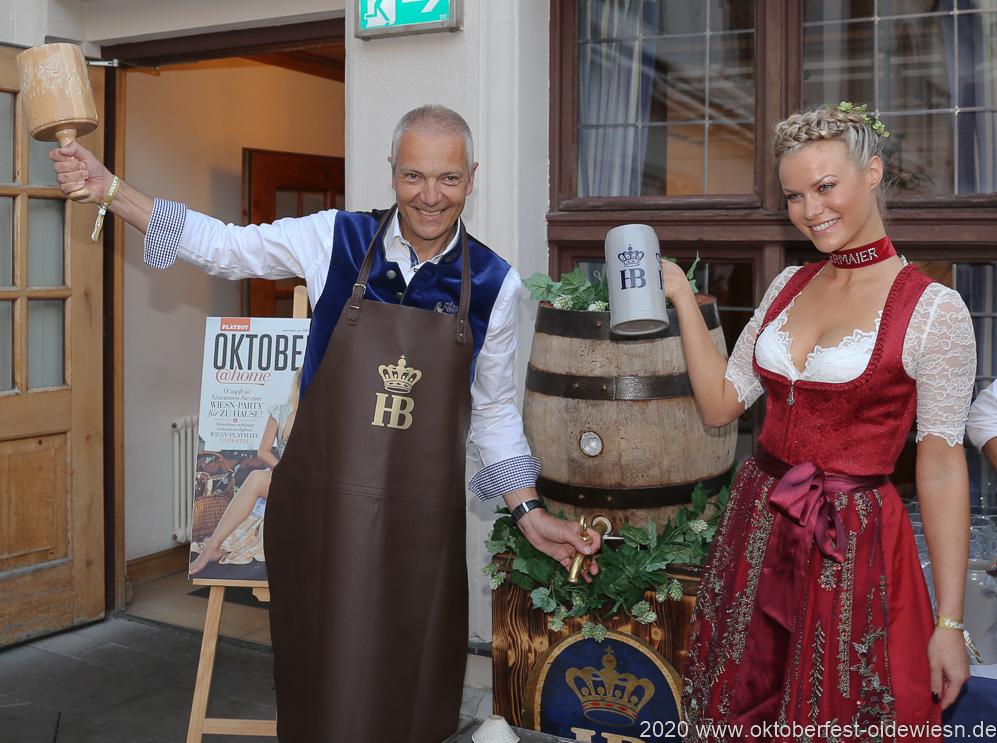 Dr. Michael Möller und Natascha Hofmann, Angermaier Wiesn Playmate im Hofbräuhaus in München 2020