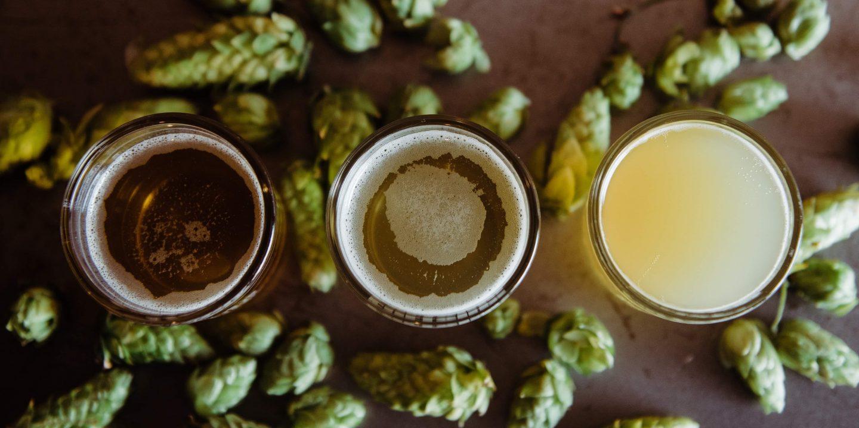 Humleblomster ligger på et bord sett ovenfra. Står også tre glass der. Et strågult, et gyllent og et ravfarget øl.
