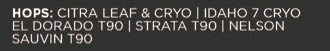 "Tekst fra en ølboks som sier blant annet ""Citra Leaf & Cryo""."