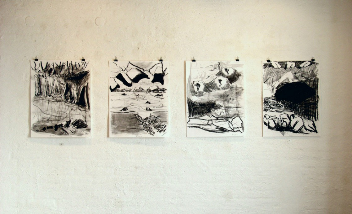 Charcoal drawings at the ground floor