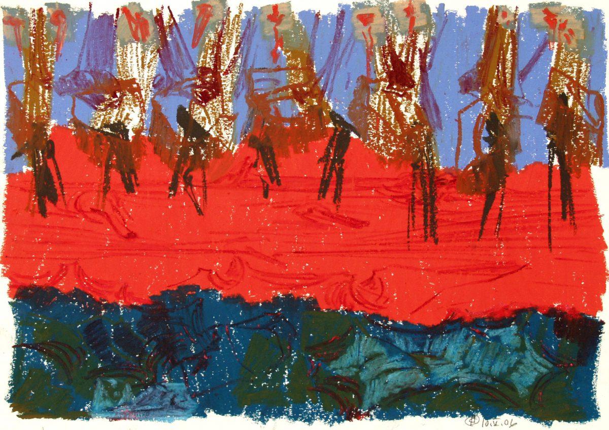 Uden titel | Oliekridt på papir | 30×42 cm | 2006 | OCH-P-06-