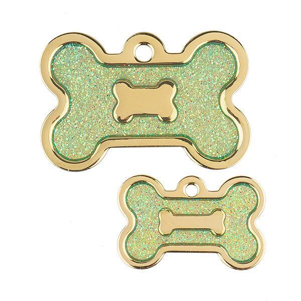 Ollipet hundetegn | Guld med lysegrøn glimmer Image