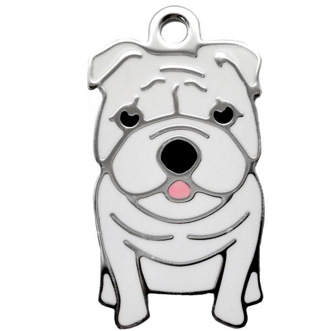 Hvid Engelsk Bulldog charm m. nøglering Image