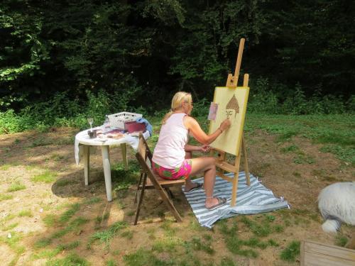 schilder cursist...mooie krijttekening van een Buddha gemaakt