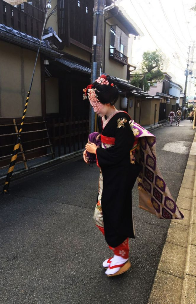 Authentic Geiko in the streets of Kyoto