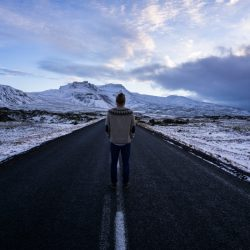 man on street in Iceland