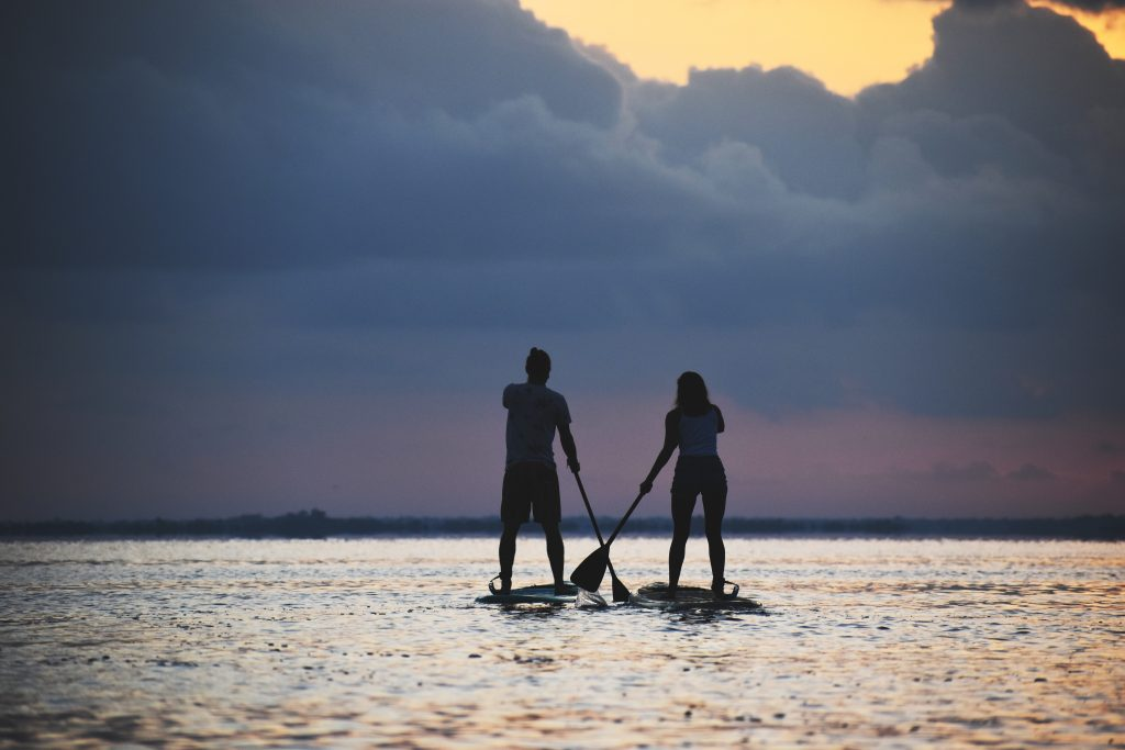 Sunrise Stand up Paddle session on the quite lake of Bacalar, Yucatán
