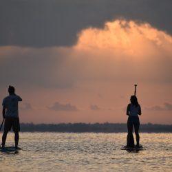 Stand up Paddling on the lake Bacalar at sunrise-Yucatán-Mexico