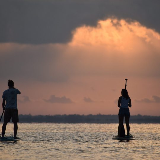 Stand up Paddling on the lake Bacalar at sunrise-Yucatán-Mexico