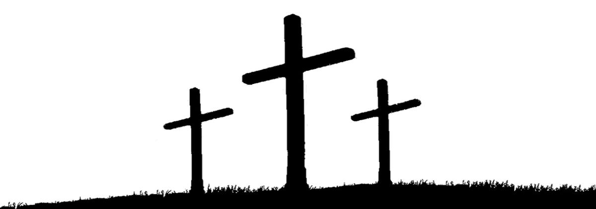 Three crosses, black and white sketch