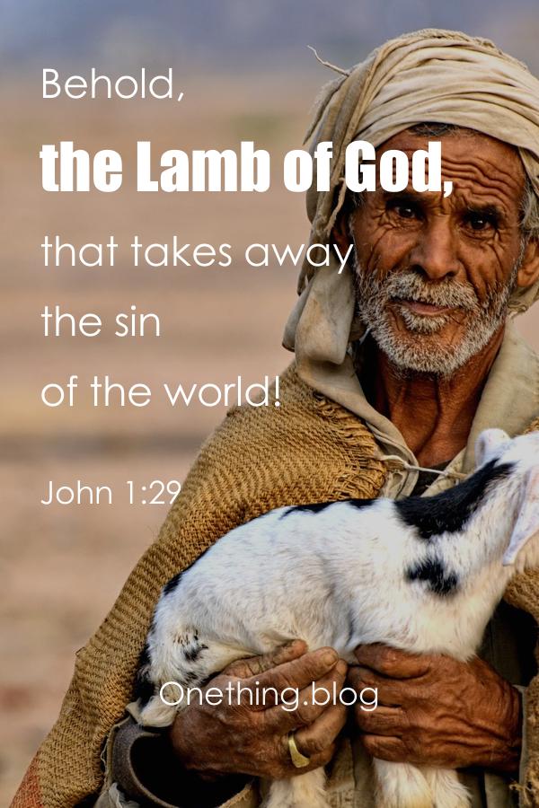 Old man carrying a lamb