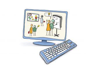 Grafik zeigt Workshopteilnehmer vor einem Flipchart als Darstellung in einem Computer. © www.online-coaching-ott.de