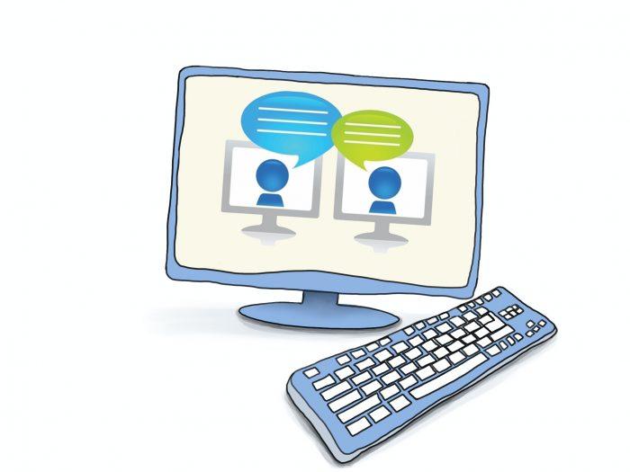 Grafik eines Computers, auf dem Bildschirm die Darstellung zweier Personen im Gespräch. © www.online-coaching-ott.de