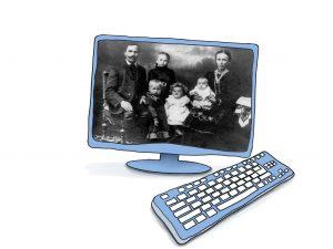 Grafik eines Computers. Auf dem Monitor sieht man das Schwarzweißbild einer Familie Anfang des 20. Jahrhunderts. © www.online-coaching-ott.de