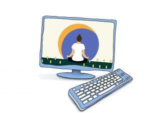 grafische Darstellung eines Computers. Auf dem Monitor sichtbar ist eine Person von hinten in einer Meditationshaltung © www.online-coaching-ott.de