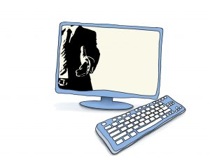 Grafik eines Computers, darin stilisiert eine Person im Anzug, die die Hand zum Handschlag ausstreckt © www.online-coaching-ott.de