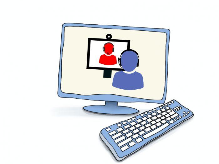 Grafik eines Computers, auf dem Bildschirm die Darstellung zweier Personen im Gespräch über Monitor und Headset. © www.online-coaching-ott.de